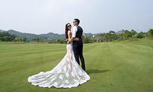 远山树丛球场外景婚纱摄影原片素材