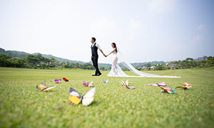 蝴蝶小饰品与情侣人物外景摄影原片