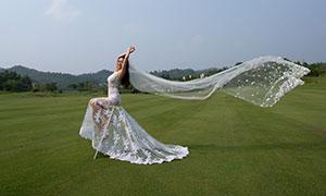 飘扬头纱开心美女人物婚纱摄影原片