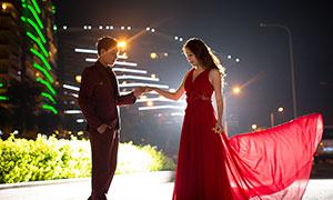 夜晚城市外景风光婚纱摄影原片素材