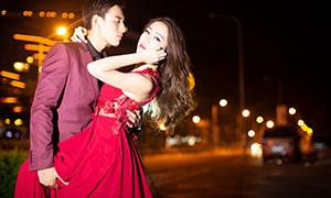 城市灯光夜景情侣人物写真摄影原片