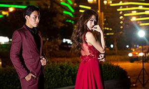 长发红裙美女人物婚纱摄影原片素材