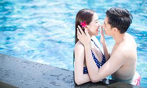 美女帅哥情侣泳池写真摄影高清原片