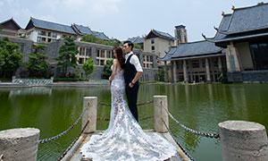 湖畔古建外景婚纱主题摄影高清原片