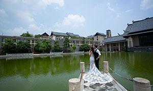 蓝天白云湖水外景风光婚纱摄影原片