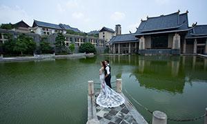 湖泊古建外景风光主题婚纱摄影原片