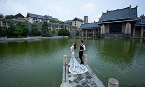 天空白云建筑湖景婚纱摄影高清原片