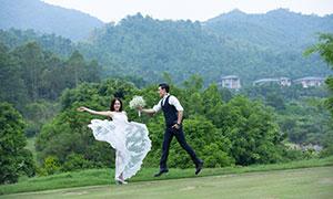裙角飞扬白色婚纱美女人物摄影原片