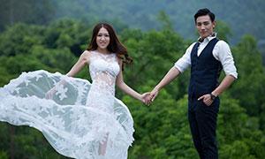 在树丛前手拉手的情侣人物婚纱原片