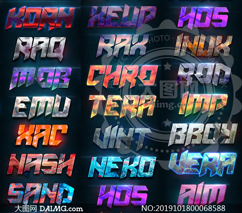 20款現代風格藝術字設計PS樣式V30