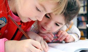 两个认真写作业的儿童摄影图片