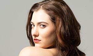 卷发造型露肩模特美女摄影高清原片