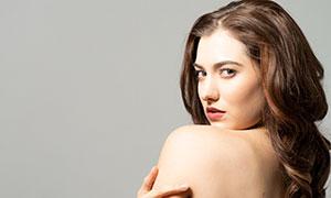 中分卷發歐美美女模特攝影高清原片