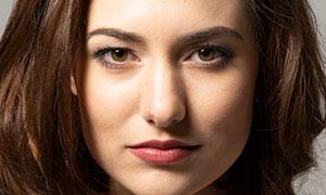 紅唇微笑美女模特特寫攝影高清原片