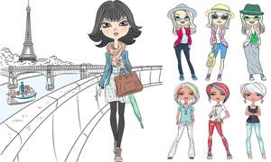 卡通手繪創意美女人物矢量素材集V01