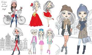 卡通手绘创意美女人物矢量素材集V03