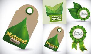 有机食物健康食品标签矢量素材集V01