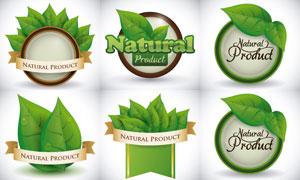 有机食物健康食品标签矢量素材集V03
