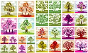 树木主题插画创意设计矢量素材集V01