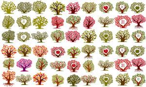 树木主题插画创意设计矢量素材集V02