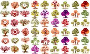 树木主题插画创意设计矢量素材集V03