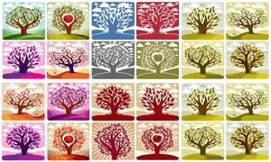 树木主题插画创意设计矢量素材集V04