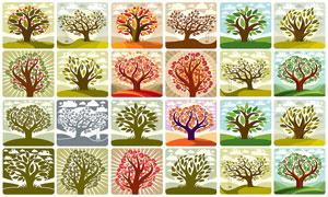 树木主题插画创意设计矢量素材集V05
