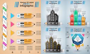 房子与铅笔等元素信息图表矢量素材