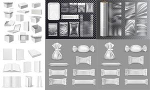 紙盒塑料袋等包裝效果設計矢量素材
