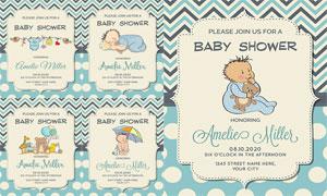 嬰幼兒可愛的玩具元素海報矢量素材