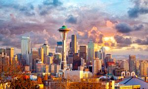 黄昏下的西雅图城市建筑摄影图片