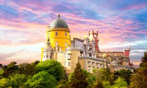 黄昏下的欧式城堡美景高清摄影图片