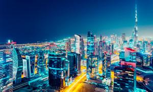城市夜景灯光美丽景观高清摄影图片