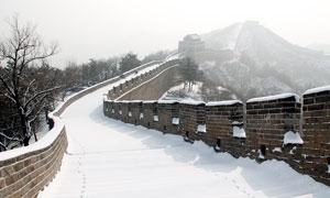 万里长城冬季美丽雪景摄影图片