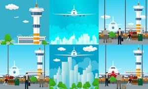 飞机与机场塔台等创意设计矢量素材