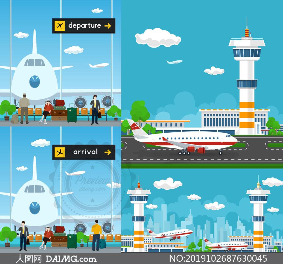 机场候机厅与塔台主题创意矢量素材