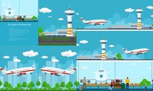 蓝天白云飞机机场塔台主题矢量素材