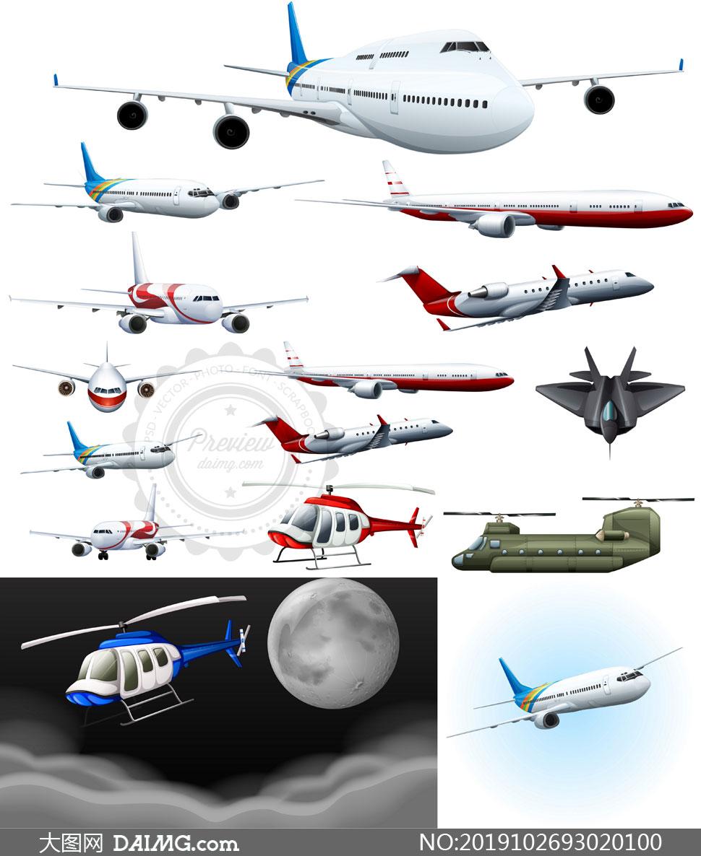 空中姿态各异的飞机主题矢量素材V01