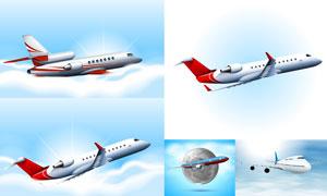 空中姿态各异的飞机主题矢量素材V02