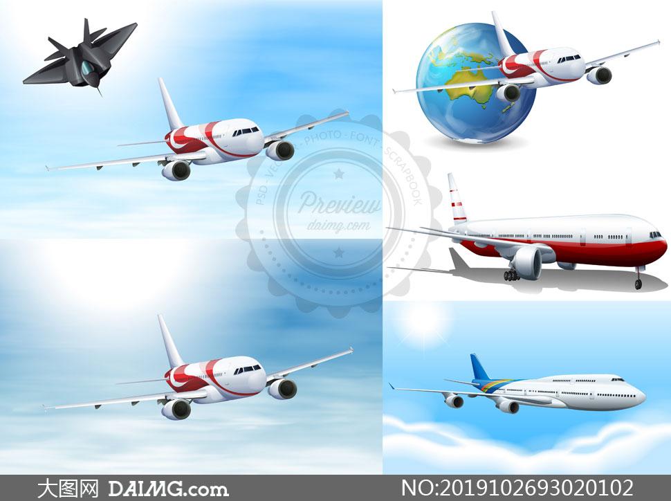 空中姿态各异的飞机主题矢量素材V03