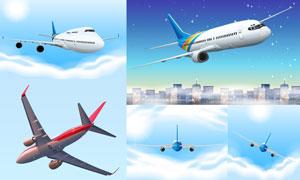 空中姿态各异的飞机主题矢量素材V04