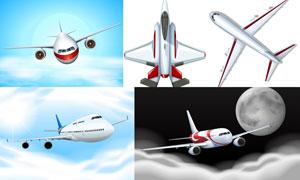 空中姿态各异的飞机主题矢量素材V06