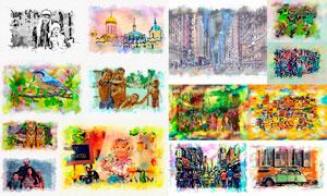 数码照片绚丽水彩画艺术效果PS动作