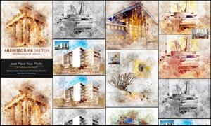 建筑物手绘草图艺术效果PSD模板