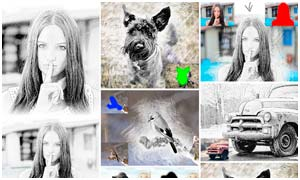 数码照片手绘素描艺术效果PS动作
