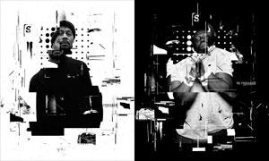黑白现代主题海报作品设计PS动作