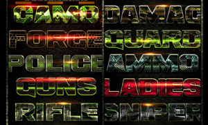 10款军事主题风格艺术字设计PS样式