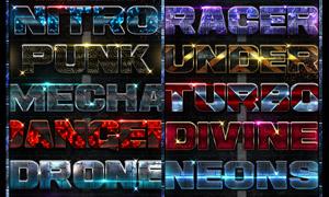 10款金属器械主题艺术字设计PS样式
