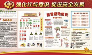 安全生产防雷避险宣传栏设计PSD素材