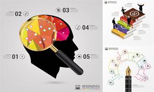 书本与钢笔等创意信息图表矢量素材